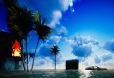 Tsunami, der die Stadt verwüstet lizenzfreie stockfotos
