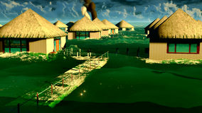 Tsunami destroying bungalows Stock Image
