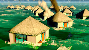 Tsunami destroying bungalows Stock Photography