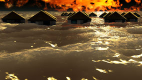Tsunami destroying bungalows Royalty Free Stock Photos
