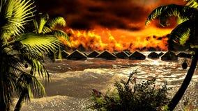 Tsunami destroying bungalows Royalty Free Stock Photo