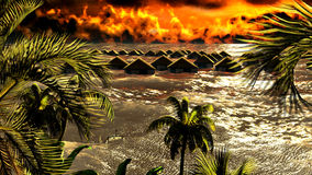 Tsunami destroying bungalows Stock Photos
