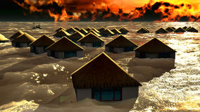 Tsunami destroying bungalows Royalty Free Stock Image
