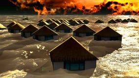 Tsunami destroying bungalows Royalty Free Stock Image