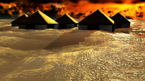 Tsunami destroying bungalows Royalty Free Stock Photo