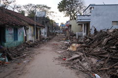 Tsunami Destruction. December 31, 2004 - Scenes of destruction in the days after the Asian tsunami struck Pondicherry, India Stock Photos