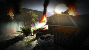 Tsunami devastating the city. Scene of destruction stock video footage