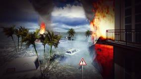 Tsunami devastating the city. Scene of destruction stock video