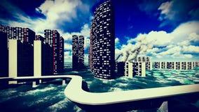 Tsunami devastating the city. Scene of destruction stock footage