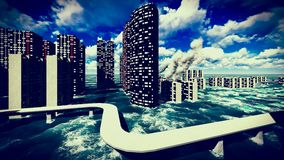 Tsunami devastating the city Royalty Free Stock Image