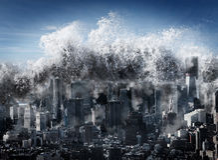 Tsunami di disastro naturale Immagini Stock