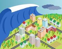 Tsunami die stad bedekken Stock Afbeeldingen