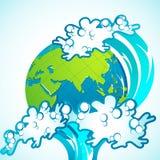 Tsunami on Earth. Illustration of tsunami wave splashing on earth stock illustration
