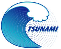 Tsunami, Earthquake Epicenter. Giant tsunami wave crest, ocean earthquake epicenter, white background. EPS8 compatible Royalty Free Stock Images