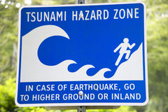 Tsunami and earthquake hazard zone signal in Vancouver. Canada Royalty Free Stock Image