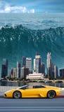 Tsunami en el Pacífico   Fotografía de archivo