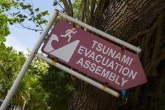 tsunami Ett tecken som indikerar riktningen av evakueringen fotografering för bildbyråer