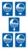 Tsunami evacuation. Tsunami warning signs showing evacuation route directions royalty free illustration