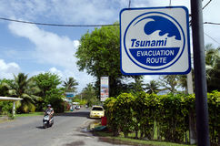 Tsunami evacuation route in Rarotonga Cook Islands. RAROTONGA - SEP 16:Tsunami evacuation route sign on Sep 16 2013.Cook Islands are in danger of earthquake Stock Photo