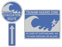 Tsunami evacuation route sign. Tsunami evacuation route and hazard zone signs vector illustration