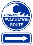 Tsunami Evacuation Route Sign stock photos