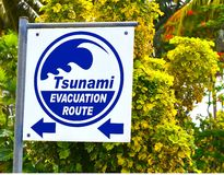 Tsunami Evacuation Route Sign. This sign points to the mountains on the tiny Island of Rarotonga in the South Pacific.  Rarotonga is approx 10 km in diameter Royalty Free Stock Photography