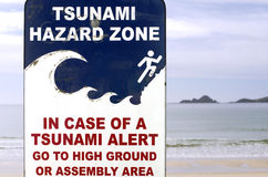 Tsunami evacuation route sign Royalty Free Stock Photo