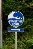 Tsunami Evacuation Route Sign. Near Pacific Coast stock photos