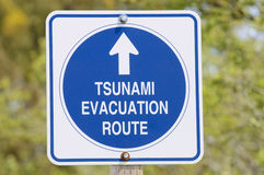 Tsunami evacuation sign Royalty Free Stock Photos