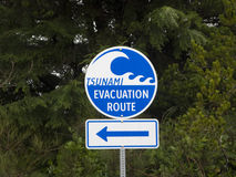Tsunami evacuation sign Stock Photos