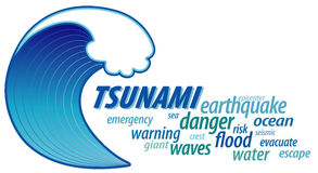 Tsunami Giant Wave, Word Cloud. Tsunami word cloud with giant ocean wave crest graphic illustration, isolated on white background. EPS8 compatible Royalty Free Stock Images