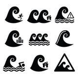 Tsunami, grand avertissement de vague, icônes neutres de catastrophe réglées Photo libre de droits
