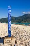 Tsunami harzard zone warning sign. Taken in Lipe island, southern Thailand Royalty Free Stock Photos