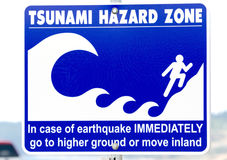 Tsunami Hazard Warning Sign Stock Photography