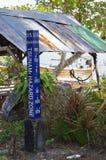 Tsunami Hazard Zone post. Tsunami Hazard Zone warning post in Thailand royalty free stock image