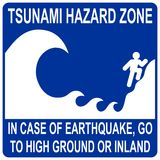 Tsunami hazard zone sign. Tsunami hazard zone blue sign Royalty Free Stock Images