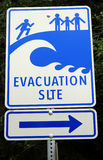 Tsunami hazard zone sign stock photo