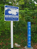 Tsunami hazard zone sign board Royalty Free Stock Photo