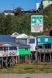 Tsunami Hazard Zone Sign in Castro town, Chi. Le royalty free stock image