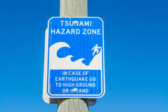 Tsunami hazard zone sign in Los Angeles Royalty Free Stock Photos