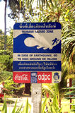 Tsunami hazard zone - Thailand. Ko Phi Phi was devastated by the Indian Ocean tsunami of December 2004, when nearly all of the island's infrastructure was royalty free stock image