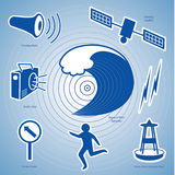 Tsunami Icons. Epicenter, ocean wave, siren, radio, ocean wave detection buoy, satellite & transmission, fleeing person,  evacuation route sign. EPS8 Stock Photos