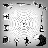 Tsunami Icons. Quake epicenter with concentric circles, ocean waves, siren, radio, emergency aid services, tsunami detection buoy, satellite & transmission Royalty Free Stock Photo