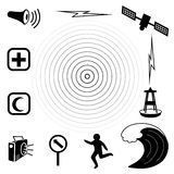 Tsunami Icons. Earthquake epicenter with concentric circles, ocean waves, siren, radio, emergency aid services, tsunami detection buoy, satellite & Stock Image