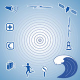 Tsunami Icons  Royalty Free Stock Photos