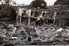 Tsunami Japón Fukushima 2011 Foto de archivo libre de regalías