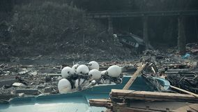 Tsunami japan 2011 fukushima. Consequences of the tsunami in Japan in 2011, Fukushima, Photo taken in kamaishi 11/23/2011 stock video