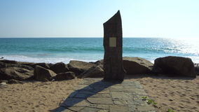 Tsunami Memorial Stone on the Sea Shore in Telwatta, Sri Lanka - 10 February 2017 stock video