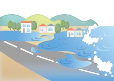 Tsunami - Natural disaster image. Scenery depicting the situation of natural disaster. It is a material made with vector vector illustration