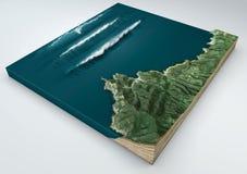 Tsunami onormal våg, vågbildande splittring 3d av ett jordavsnitt under effekten av en tsunami i havet som knackar på Co Arkivfoto